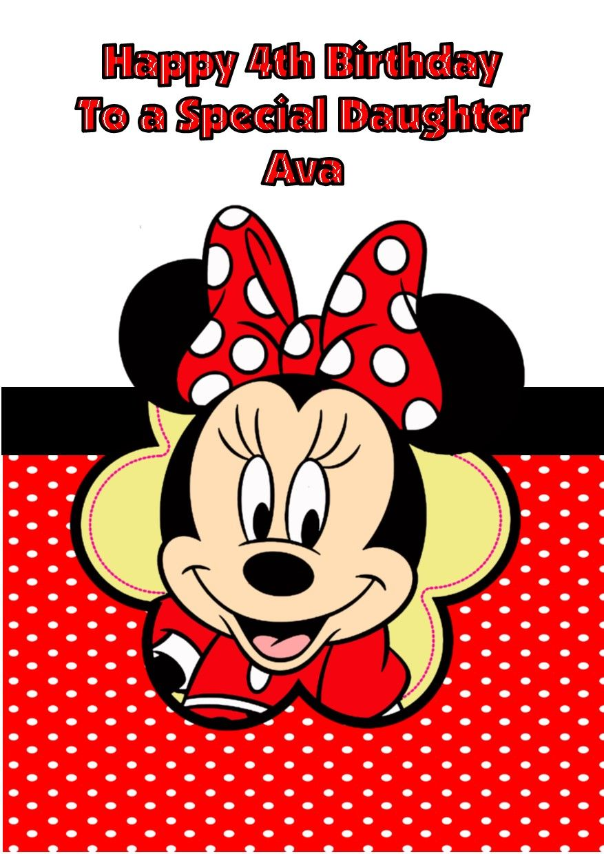 Personalised Minnie Mouse Birthday Card Red