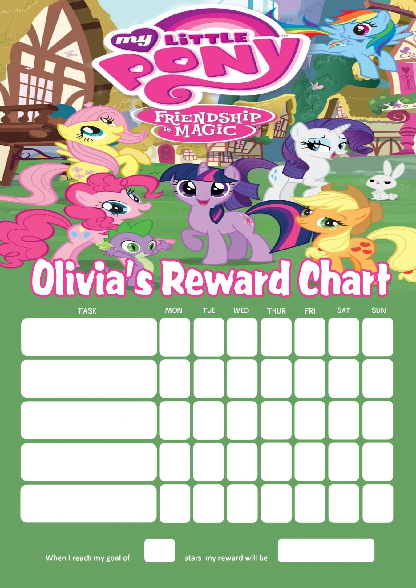 Personalised My Little Pony Reward Chart Adding Photo