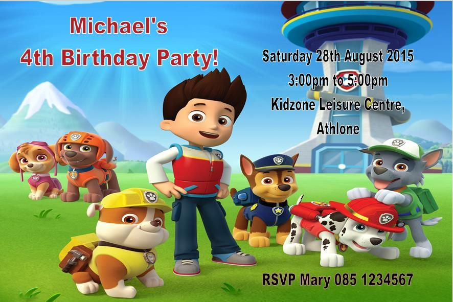 Personalised Paw Patrol Invitations Design 1