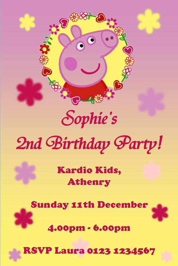 Personalised Peppa Pig Invitations Design 4