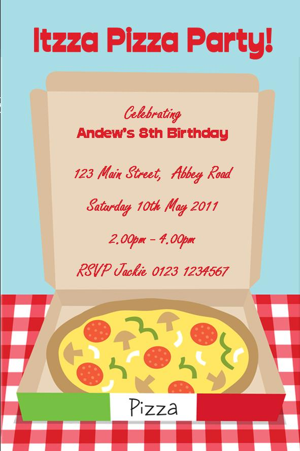 Personalised Pizza Party Invitations