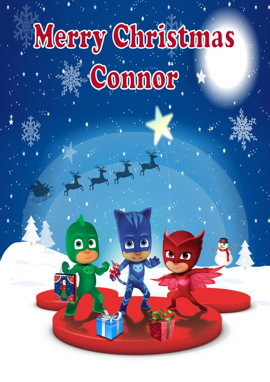 Personalised PJ Masks Christmas Card