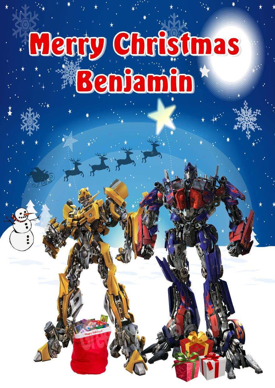 Personalised Transformer Christmas Card