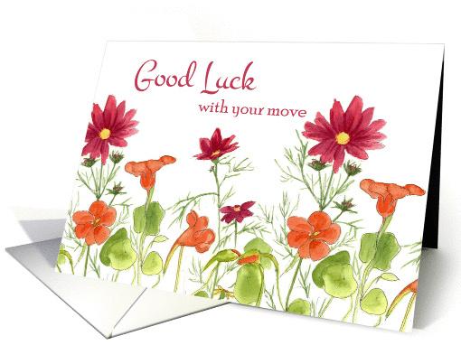 Good Luck With Your Move Orange Nasturtium Flowers Card