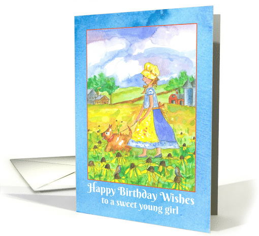 Happy Birthday Wishes To A Sweet Young Girl Watercolor Card 79658