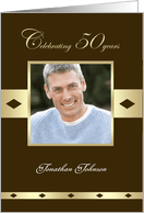 50th Birthday Party Photo Card Invitation 50 Years In Brown