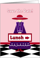 Lady In Red Hat Lunch Invitation Card