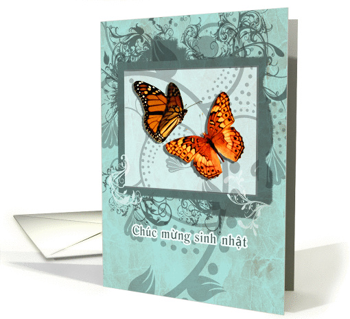 Happy Birthday In Vietnamese Orange Butterflies And Swirls Card