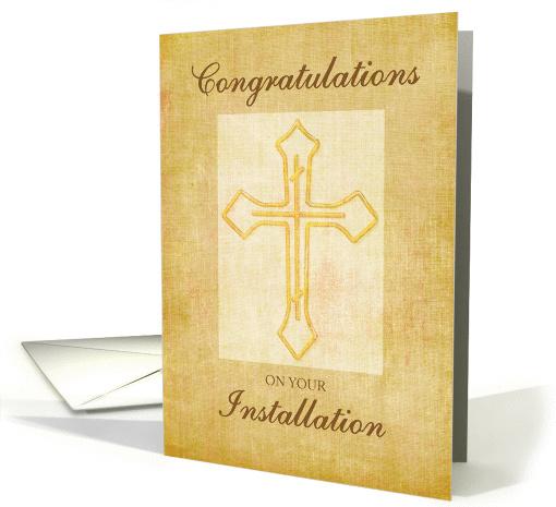Congratulation Installation Religious Cross Brown