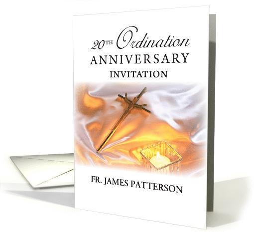 Invitation 20th Ordination Anniversary Cross Candle Card