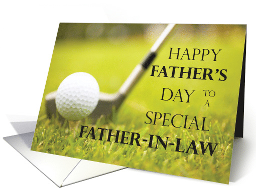 Happy Fathers Day For Father In Law Golf Course Card