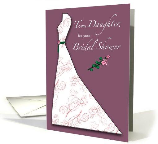 Daughter Bridal Shower Wedding Dress Roses Plum Card