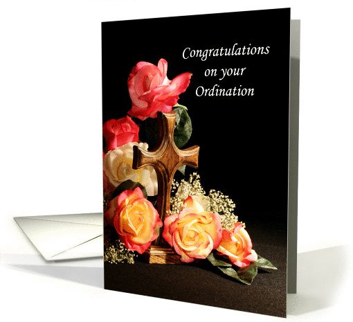 Congratulations On Your Ordination Greeting Card Wood