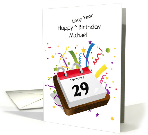 February 29th Leap Year Birthday Calendar Personalize Card 1416548