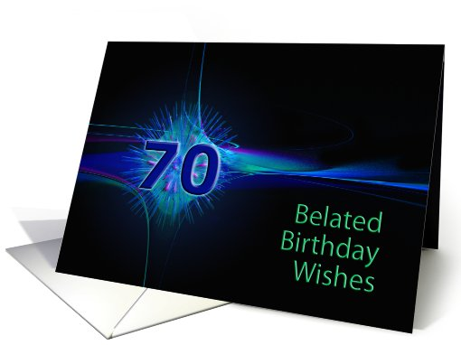 Belated 70th Birthday Wishes With An Abstract Pattern Card 620939