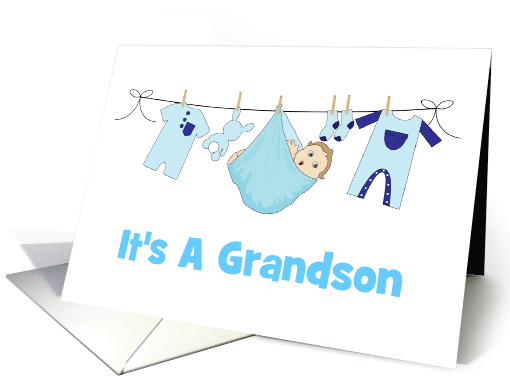 Birth AnnouncementIts A GrandsonBabyClothesBunny