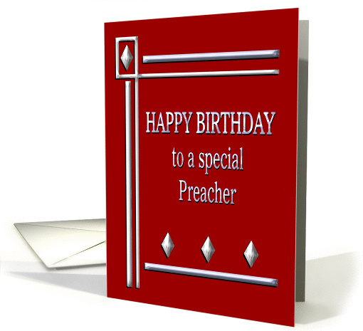 Happy Birthday Preacher Red And Silver Card 1363314