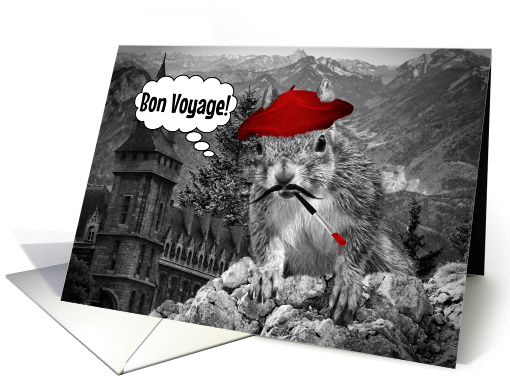 Bon Voyage Funny French Painter Squirrel Card 1068539