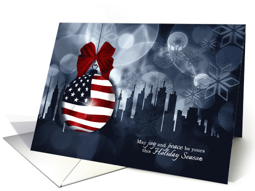 Patriotic Holiday Wishes American Flag Ornament And
