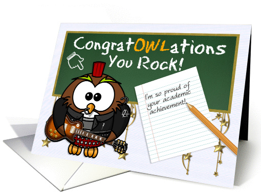 Congratulations Academic Achievement Rock Star Owl Card