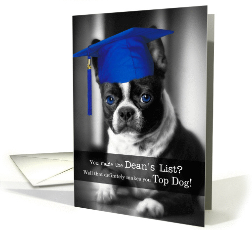 Making The Deans List Congratulations Boston Terrier Dog Card