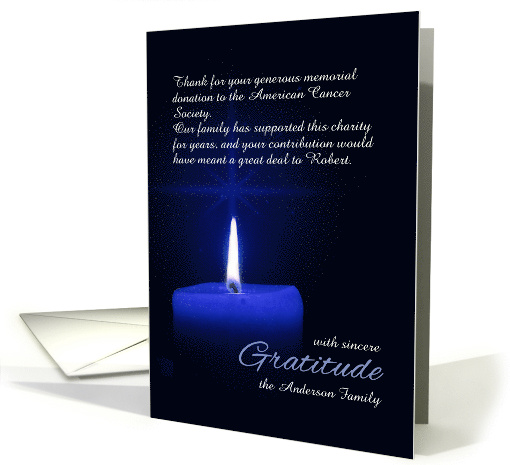 Custom Thank You For The Memorial Donation Candle Light Card 976475