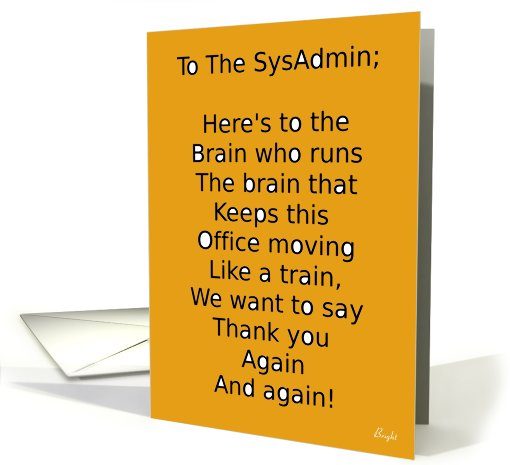 Happy System Administrator Appreciation Day Card With
