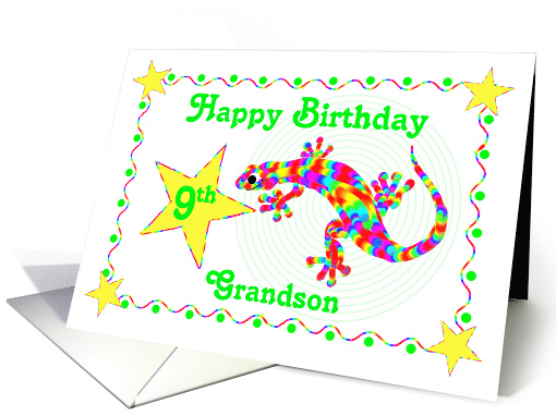 Happy 9th Birthday Grandson With Rainbow Salamander Card