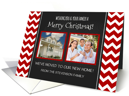 2 Photo Merry Christmas Weve Moved Card Red Chevron
