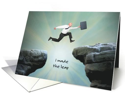 New Job Announcement Man Jumping Card 1462866