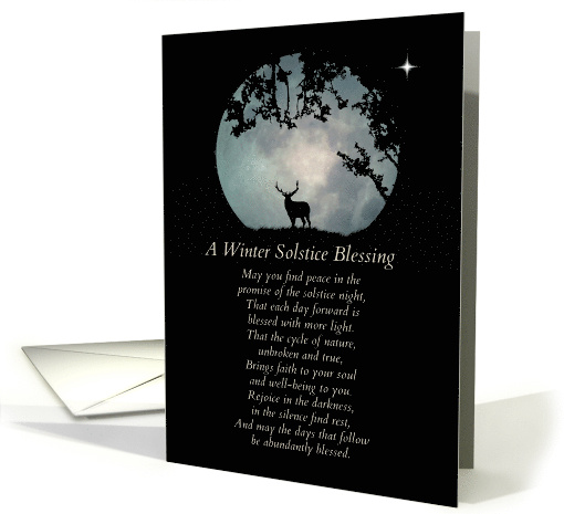 Winter Solstice Blessings Elk And Moon Card 1399800