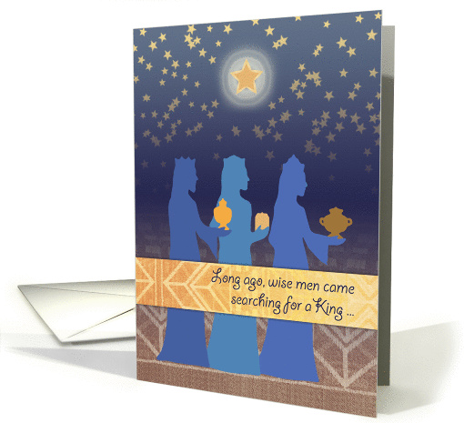 Three Magi Christmas Card Wise Men Seek A King Stars