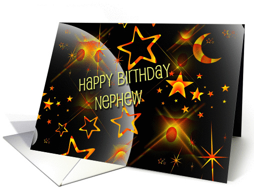 Happy Birthday Nephew Fun Neon Orange And Black Galaxy