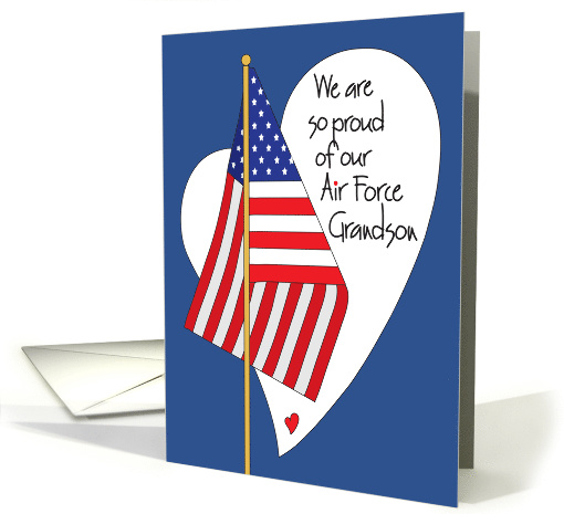 Birthday For Air Force Grandson American Flag And Heart Card