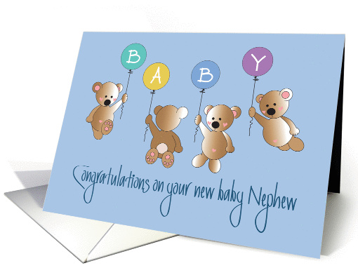 Congratulations On New Baby Nephew Four Bears Amp Balloons Card