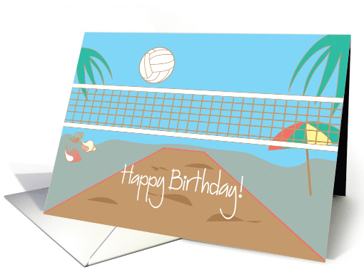 Happy Birthday For Beach Volleyball Player Card 947719