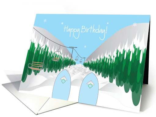 Happy Birthday For Snow Skiing With Ski Slope And Ski Tips
