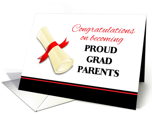 Congratulations For Parents Of Graduate Diploma With Red
