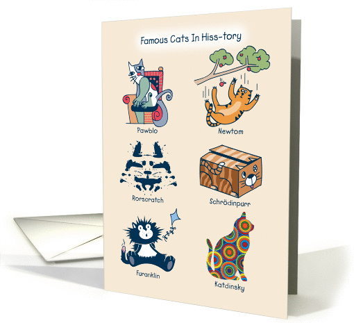Famous Cats In Hiss Tory Cat Puns Humorous Birthday Card