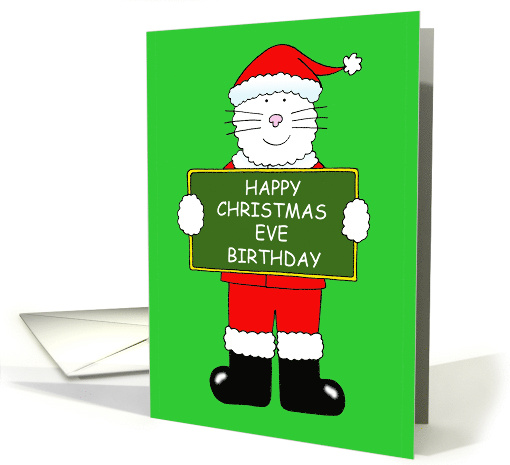 Christmas Eve Birthday Cartoon Cat In Santa Outfit Card
