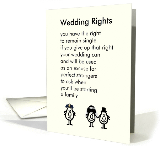 Wedding Rights A Funny Congratulations Poem For