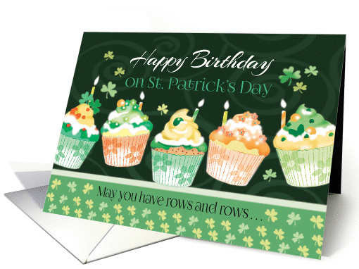Birthday On St Patrick S Day Cupcakes In Irish Colours Card