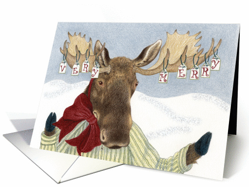 Moose Wishes Very Merry Christmas Card 1292504