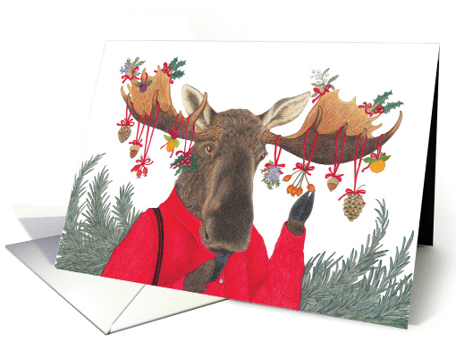 Moose With Woodland Decoration Holiday Card 1292508