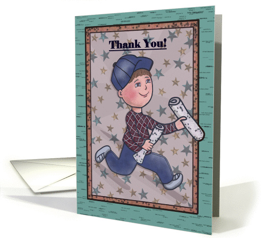 Thank You Newspaper Boy Running Holding Newspapers Card