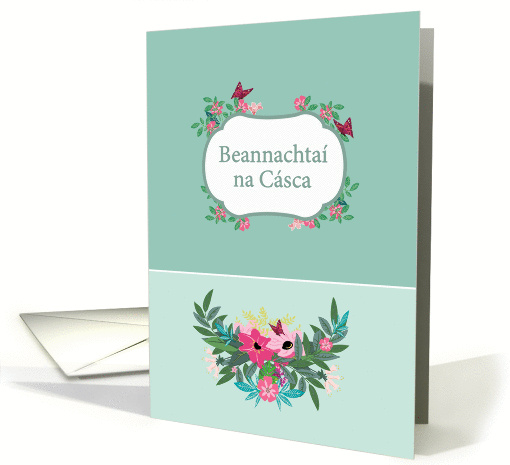 Happy Easter In Irish Gaelic Floral Design Card 1357996