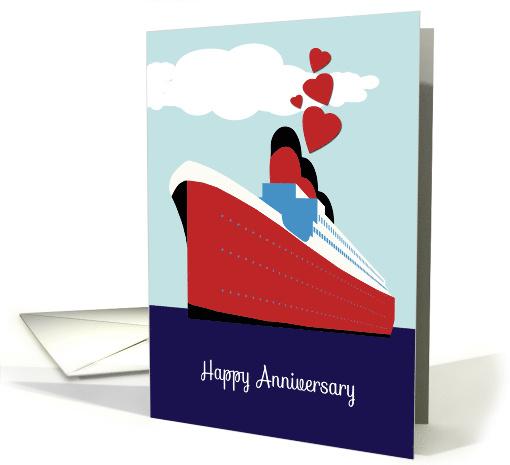 Happy Wedding Anniversary Cruise Ship Hearts Card 1466600