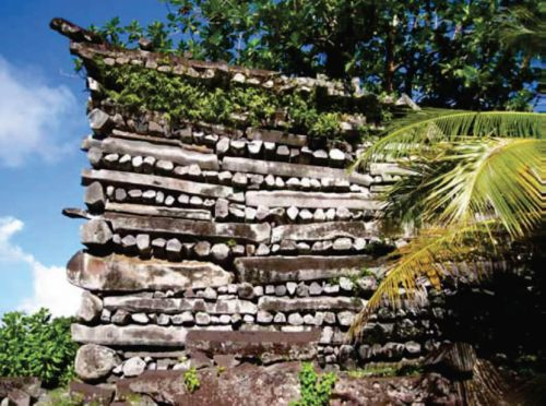 Columnar basalt built by in a header-stretcher technique, Nandowas Islet World Heritage Centre International Scientific Committee on Archaeological Heritage Management (ICAHM) Report - The Mystery of Nan Madol – Greetings from the Past