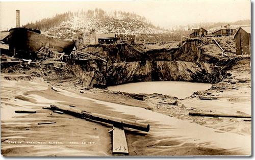 """Postcard of """"Cave-In"""" Treadwell Alaska, April 22 1917"""