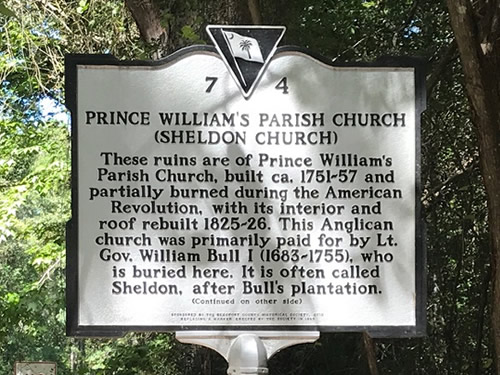 Prince William's Parish Church (Sheldon Church) Historical Marker